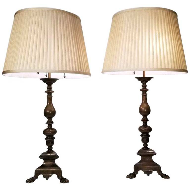 Pair of Early 20th Century Baroque Style Caldwell Table Lamps For Sale