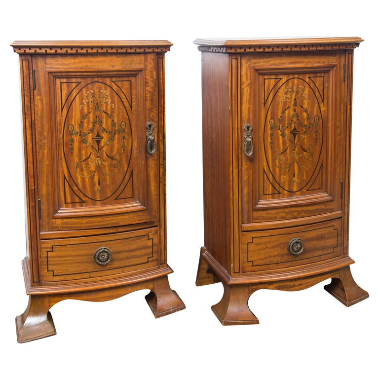 Pair of Early 20th Century Bedside Cabinets or Nightstands For Sale
