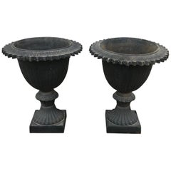 Pair of Early 20th Century Black Cast Iron Urns