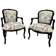 Pair of Early 20th Century Black Lacquered Louis XV Style Open Armchair