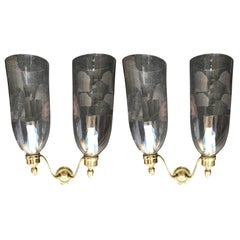 Pair of Early 20th Century Brass, Two-Arm Sconces with Handblown Hurricanes