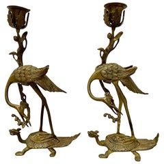 "Pair of Early 20th Century Brass ""Crane Dragon"" Candle Holders"