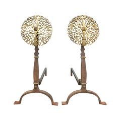 Pair of Early 20th Century Brass and Steel Medallion Andirons, circa 1900