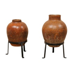 Pair of Early 20th Century Brazilian Glazed Terracotta Jars on Stands