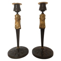 Pair of Early 20th Century Bronze Egyptian Revival Candlesticks