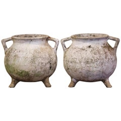 Pair of Early 20th Century Carved and Weathered Concrete Planters