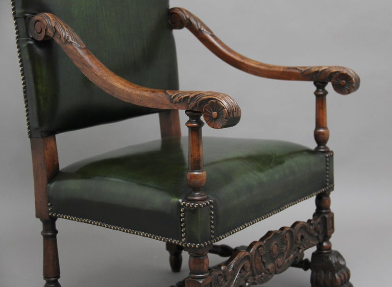 Pair of Early 20th Century Carved Armchairs in the Carolean Style For Sale 4