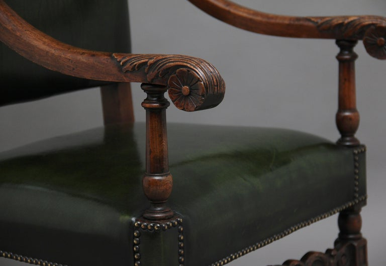Pair of Early 20th Century Carved Armchairs in the Carolean Style For Sale 6