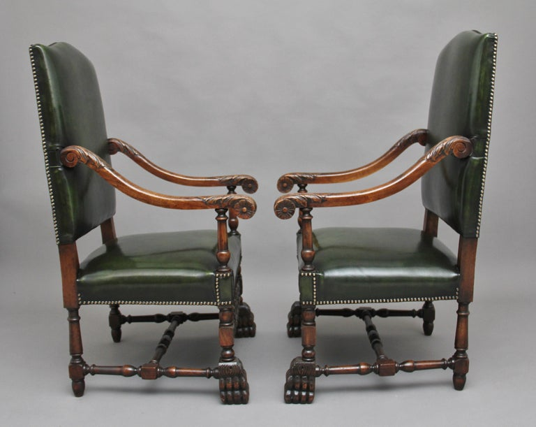 Edwardian Pair of Early 20th Century Carved Armchairs in the Carolean Style For Sale