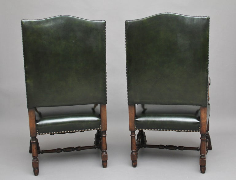 British Pair of Early 20th Century Carved Armchairs in the Carolean Style For Sale