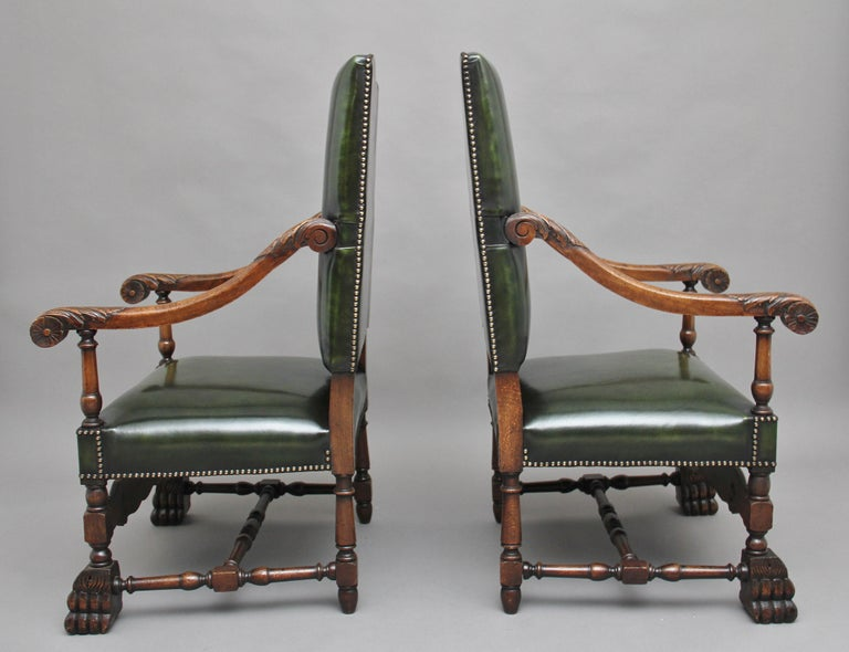 Pair of Early 20th Century Carved Armchairs in the Carolean Style In Good Condition For Sale In Martlesham, GB