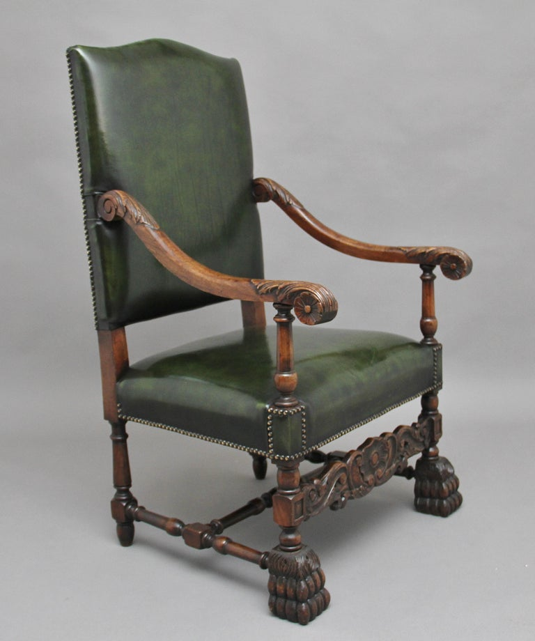 Hardwood Pair of Early 20th Century Carved Armchairs in the Carolean Style For Sale