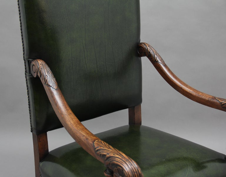 Pair of Early 20th Century Carved Armchairs in the Carolean Style For Sale 2