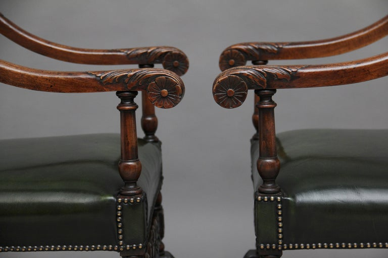Pair of Early 20th Century Carved Armchairs in the Carolean Style For Sale 3