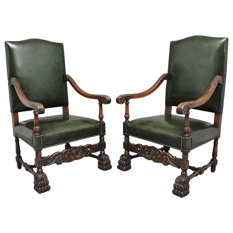 Pair of Early 20th Century Carved Armchairs in the Carolean Style For Sale