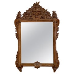 Pair of Early 20th Century Carved French Style Mirrors in Walnut Finish