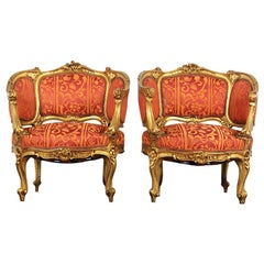 Pair of Early 20th Century Carved Gilt Louis XV Armchairs