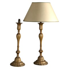Pair of Early 20th Century Carved Giltwood Table Lamps