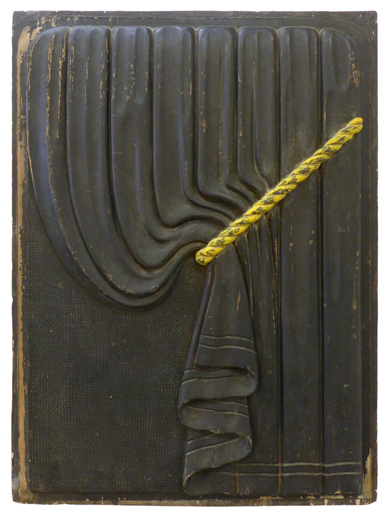 Art Deco Pair of Early 20th Century Carved Wood Funeral Coach Curtain Panels For Sale