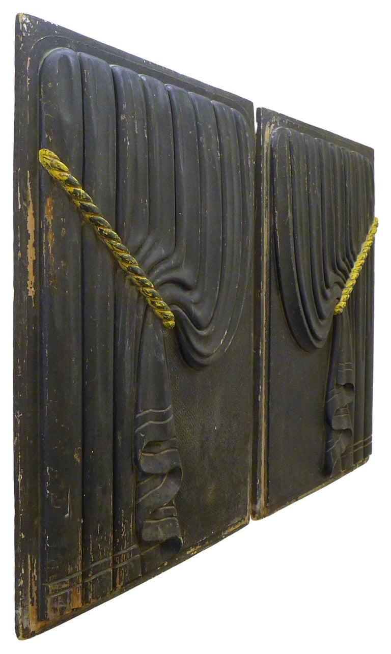 American Pair of Early 20th Century Carved Wood Funeral Coach Curtain Panels For Sale