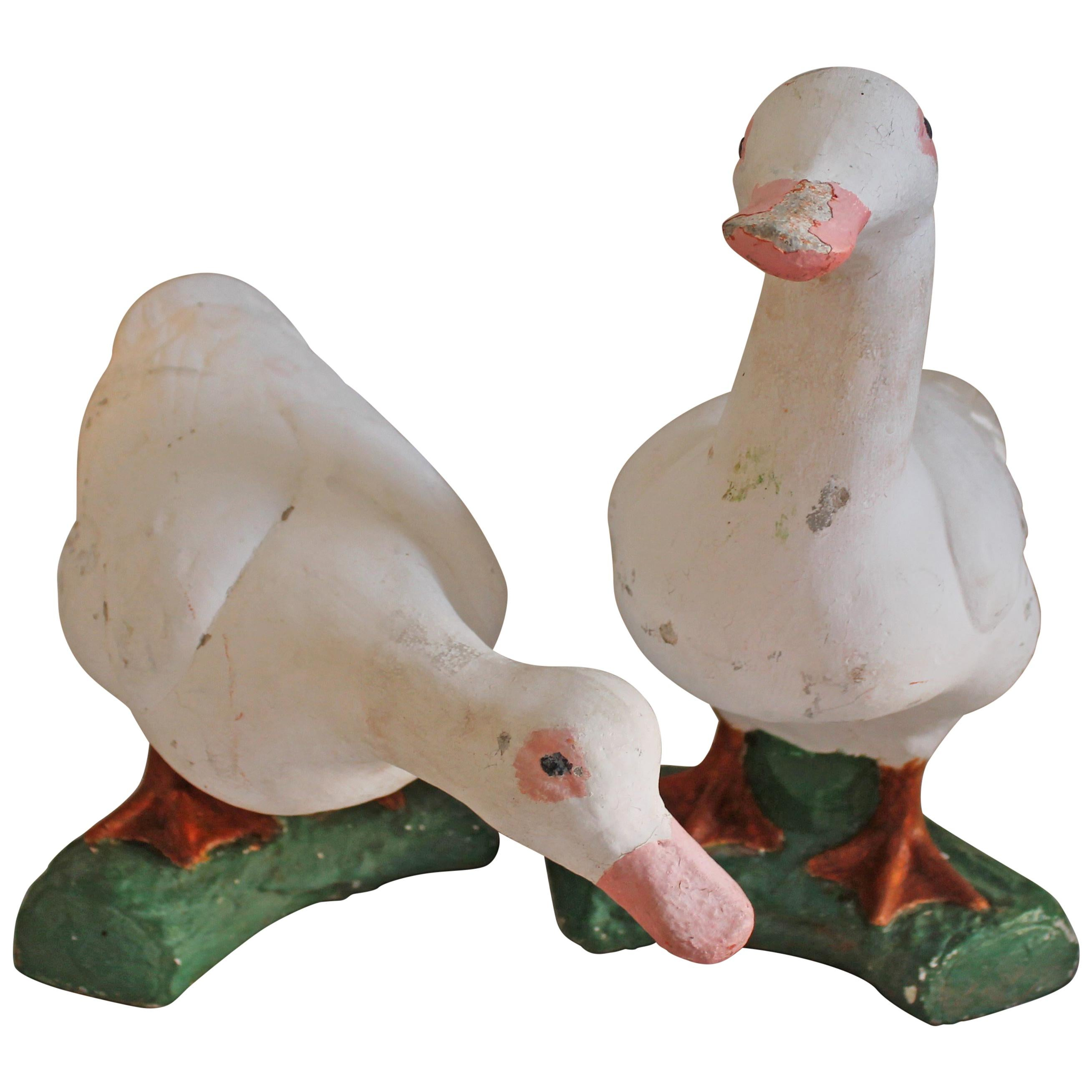 Pair of Early 20th Century Cement Ducks