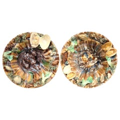 Pair of Early 20th Century Ceramic Barbotine Seashells Wall Hanging Plates