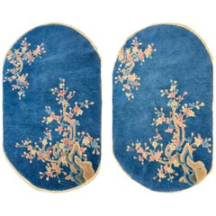 Pair of Early 20th Century Chinese Art Deco Oval Rugs