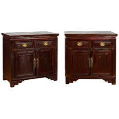 Pair of Early 20th Century Chinese Bedside Cabinets with Reddish Brown Lacquer