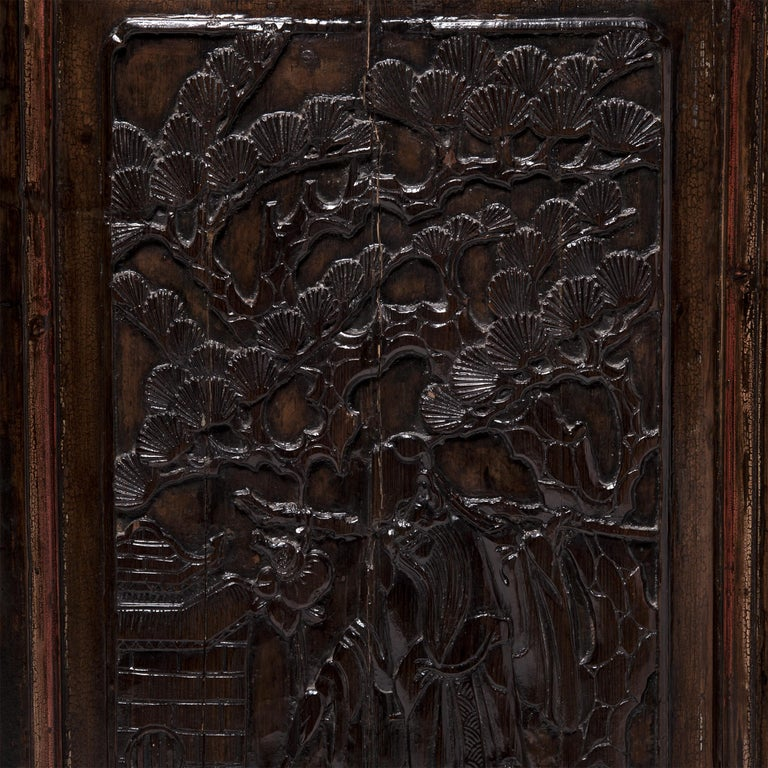Qing Pair of Early 20th Century Chinese Carved Glass Doors For Sale
