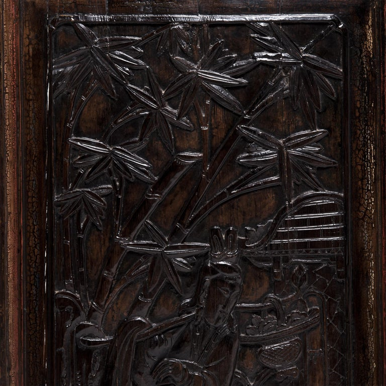Elm Pair of Early 20th Century Chinese Carved Glass Doors For Sale