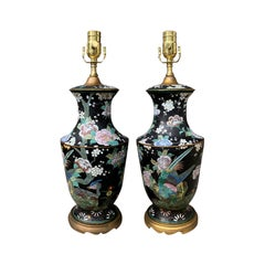 Pair of Early 20th Century Chinese Cloisonne Enamel Lamps