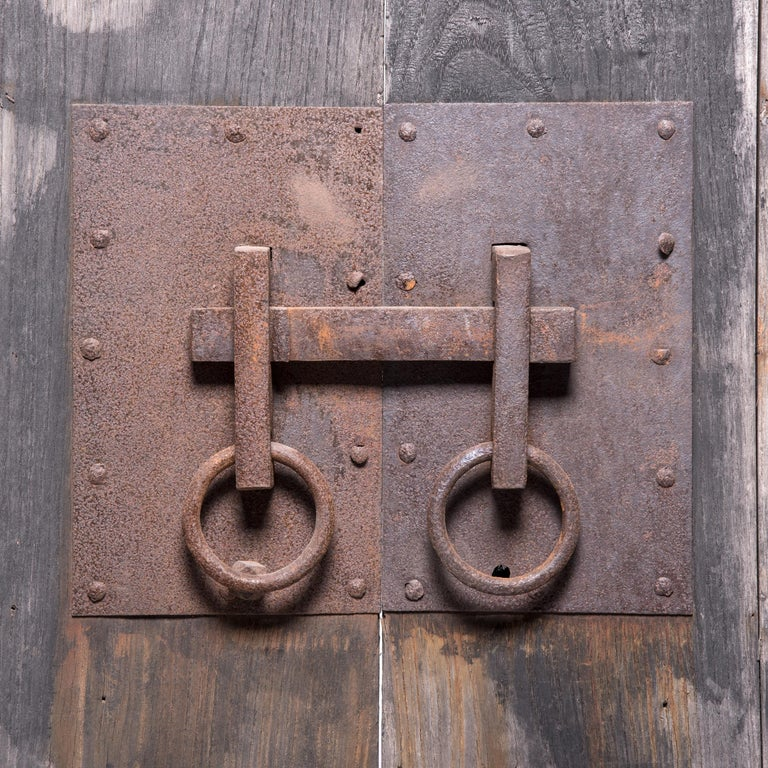 Qing Pair of Early 20th Century Chinese Courtyard Doors For Sale