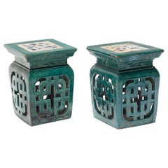 Pair of Chinese Green Glazed Garden Seats, c. 1900
