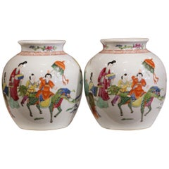 Pair of Early 20th Century Chinese Hand-Painted Clobbered Jars with Asian Decor