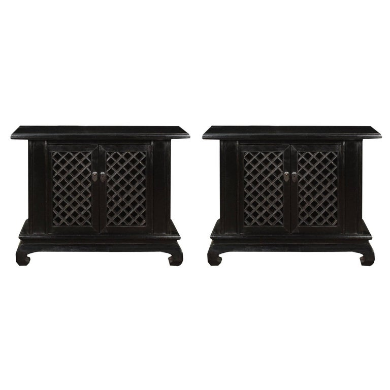 Pair of Early 20th Century Chinese Lattice Front Cabinets