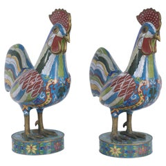 Pair of Early 20th Century Chinese Multi-Colored Cloisonne Rooster Sculptures