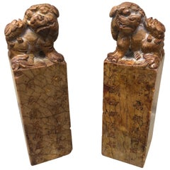 Pair of Early 20th Century Chinese Soapstone Seals with Bixies