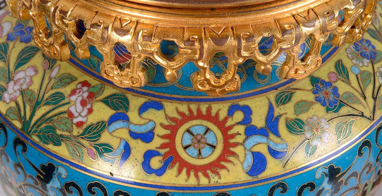 Enamel Pair of Early 20th Century Cloisonné Vases / Lamps For Sale