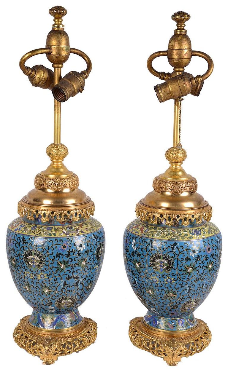 Pair of Early 20th Century Cloisonné Vases / Lamps For Sale 1