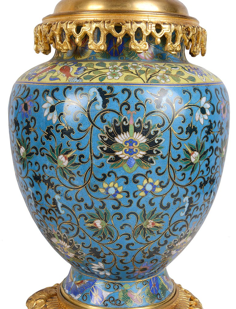 Pair of Early 20th Century Cloisonné Vases / Lamps For Sale 2