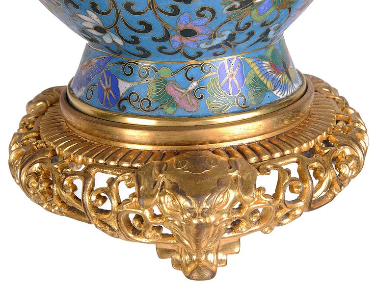 Pair of Early 20th Century Cloisonné Vases / Lamps For Sale 3