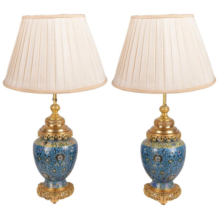 Pair of Early 20th Century Cloisonné Vases / Lamps For Sale