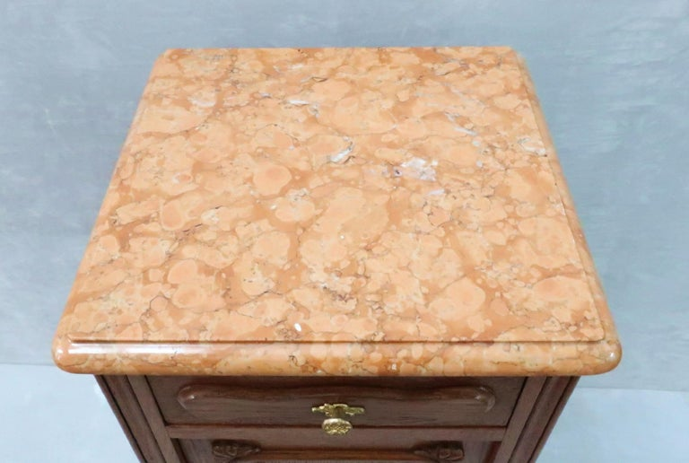 Pair of Early 20th Century Continental Oak Bedside Cabinets with Marble Tops For Sale 1