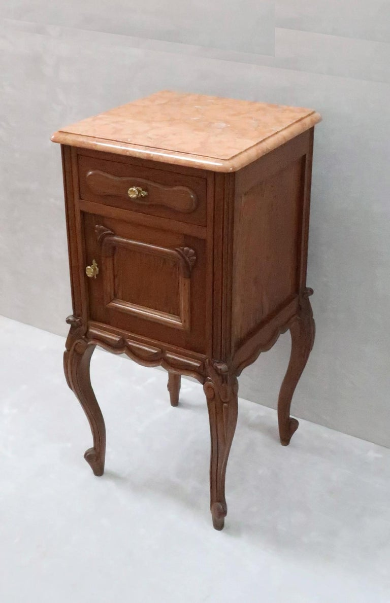 Pair of Early 20th Century Continental Oak Bedside Cabinets with Marble Tops For Sale 2