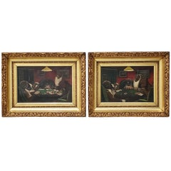 "Pair of Early 20th Century ""Dogs Playing Poker"" Original Oil Paintings"