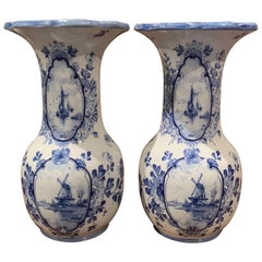 Pair of Early 20th Century Dutch Blue and White Hand Painted Faience Delft Vases
