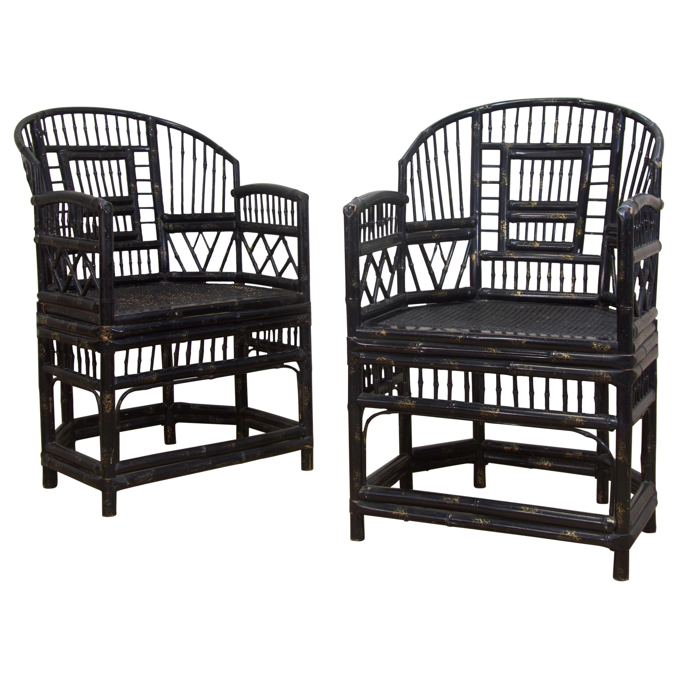 Pair of Early 20th Century Ebonised & Gilt 'Brighton Pavilion' Bamboo Armchairs