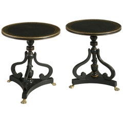 Pair of Early 20th Century Ebonized End Tables