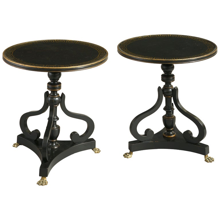 Pair of Early 20th Century Ebonized End Tables For Sale