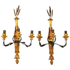 Pair of Early 20th Century Empire Style Carved Gilt and Paint Wall Sconces